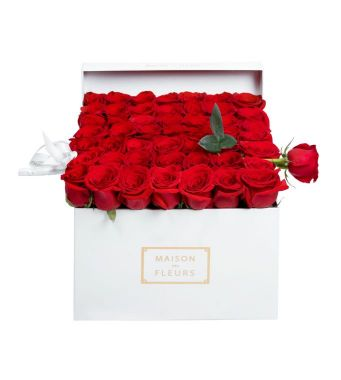 49 Red Roses And 1 Long Rose In A 30 Cm White Square Box