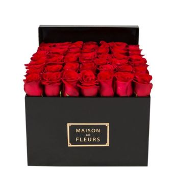 49 Red Roses In A 30 Cm Black Square Box