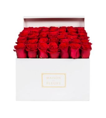 49 Red Roses In A 30 Cm White Square Box