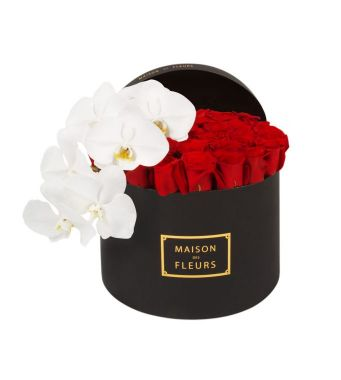 Red Roses With A White Orchid Stem In A 30 Cm Black Round Box