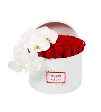 Red Roses With A White Orchid Stem In A 30 Cm Round Limited Edition Box