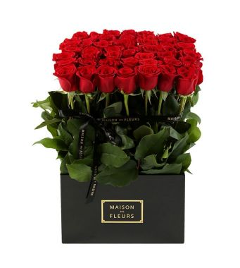 49 Red Roses and greenery In A 30 Cm Black Square Box