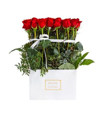 49 Red Roses and greenery In A 30 Cm White Square Box