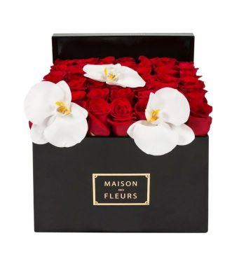 Red Roses With 3 White Orchid Blooms In A 30 Cm Black Square Box
