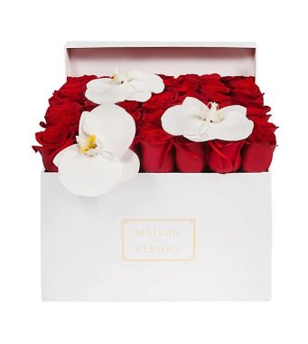 Red Roses With 3 White Orchid Blooms In A 30 Cm White Square Box