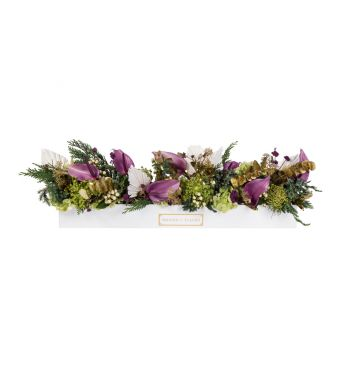 Festive Collection Festive fresh flowers arrangement with Purple Anthurium and Dried Palm Leaves in a 90 cm x 10 cm white rectangular box