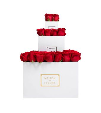 3 Layer Tier Of Red Roses In White Boxes