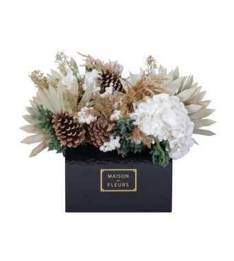 Festive Collection Mixed fresh white and gold festive arrangement in a 30 cm black square box
