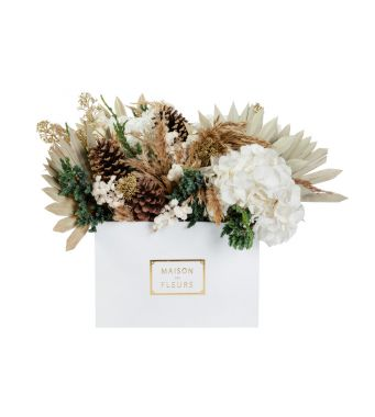 Festive Collection Mixed fresh white and gold festive arrangement in a 30 cm white square box