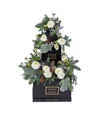 Festive Collection Winter layered arrangement with Ranunculus and Hellebores in a 30cm black box