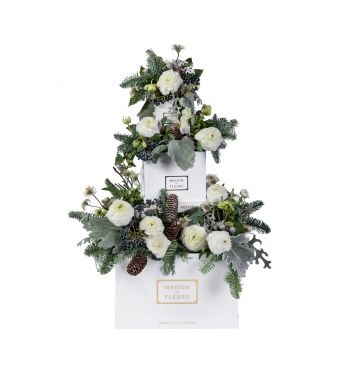 Festive Collection Winter layered arrangement with Ranunculus and Hellebores in a 30cm white box