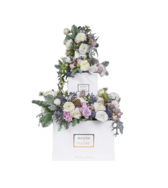 Festive Collection Mixed fresh flowers layered arrangement with Ranunculus, spray roses and Hellebores in white boxes