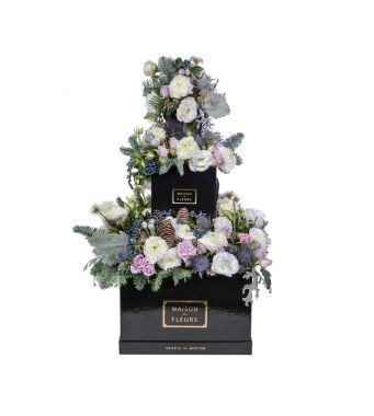 Festive Collection Mixed fresh flowers layered arrangement with Ranunculus, spray roses and Hellebores in black boxes