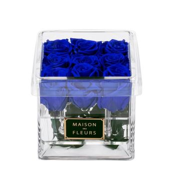 9 Long Life Ocean Blue Roses in a Clear Acrylic Square box 15x15cm