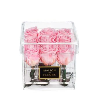 9 Long Life Pink Roses in a Clear Acrylic Square box 15x15cm