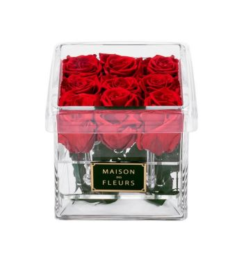 9 Long Life Red Roses in a Clear Acrylic Square box 15x15cm