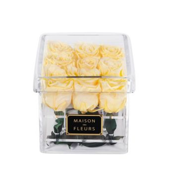 9 Long Life Yellow Roses in a Clear Acrylic Square box 15x15cm