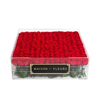 196 Long Life Red Roses in Clear Acrylic Square box 60x60cm