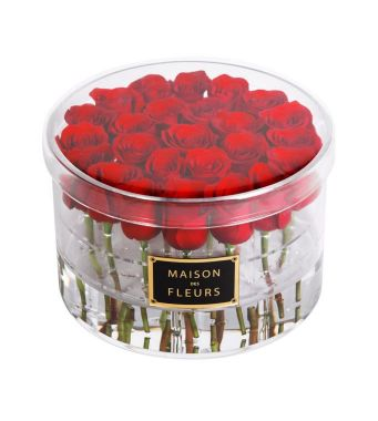 25 Fresh Red Roses In A 30 Cm Round Acrylic Box