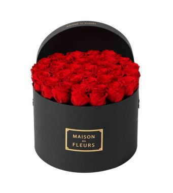 33 Long Life Red Roses in a Black Round box 30x20cm