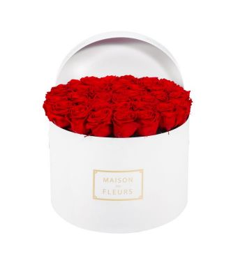 33 Long Life Red Roses in a White Round box 30x20cm