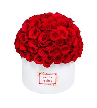 Dome Of 120 Red Roses In A 30 Cm Limited Edition White Round Box
