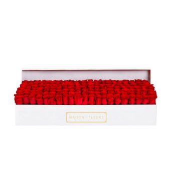 161 Red Roses In A 90 Cm X 30 Cm White Rectangular Box