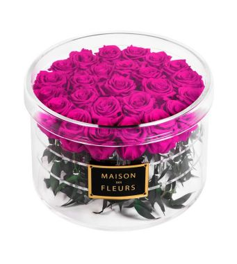 25 Long Life Fuschia Roses in a Clear Acrylic Round box 30x20cm