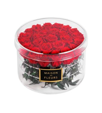 25 Long Life Red Roses in a Clear Acrylic Round box 30x20cm