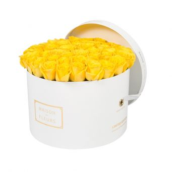 Yellow Roses in White Round Box