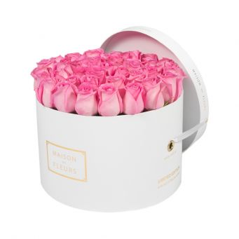 Pink Roses in White Round Box