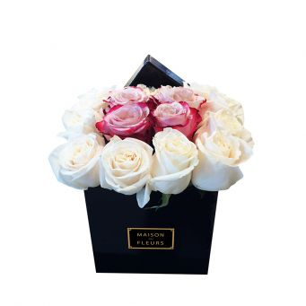 Cream and Red-Pink Roses in Black Small Square Box