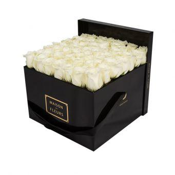 White Roses in Black Square Box