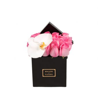 1 White Orchid Bloom and Pink Roses in Small Square Box