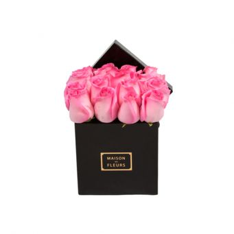 Pink Roses in Black Small Square Box