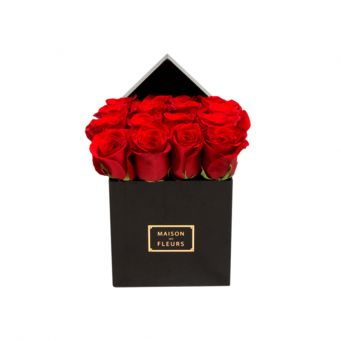 Red Roses in Black Small Square Box