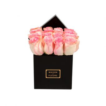 Baby Pink Roses in Black Small Square Box
