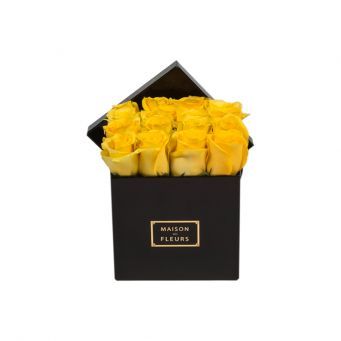 Yellow Roses in Black Small Square Box