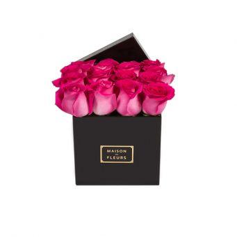 Fuchsia Roses in Black Small Square Box