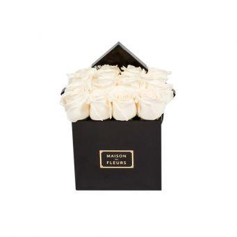 Cream Roses in Black Small Square Box