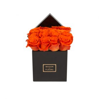 Orange Roses in Black Small Square Box