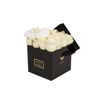 1 White Orchid Bloom and Roses in Small Square Box