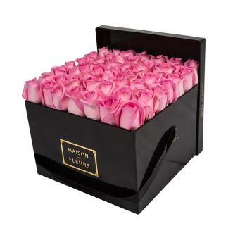 Pink Roses in Black Square Box