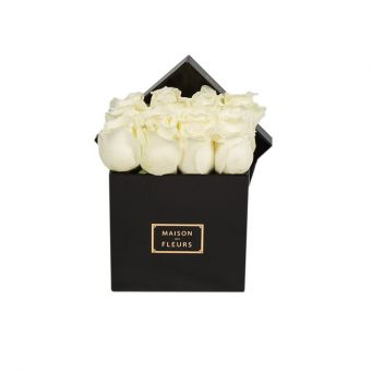 White Roses in Black Small Square Box