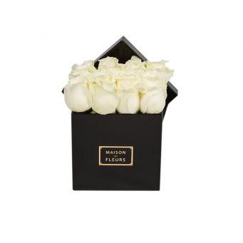 White Roses in Black Small Square Box