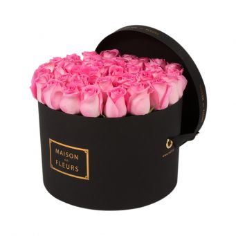 Pink Roses in Black Round Box