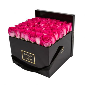 Fuchsia Roses in Black Square Box