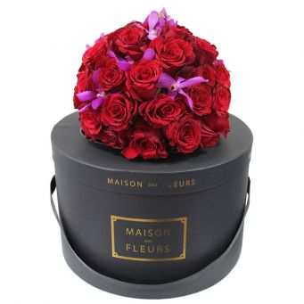 Red Roses With Purple Flowers Dome-in Black Round Box