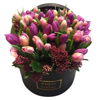 Pink and Purple Tulips With Skimmia in Black Round Box