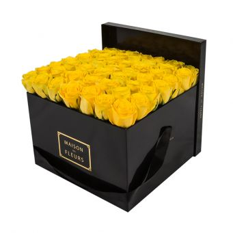 Yellow Roses in Black Square Box